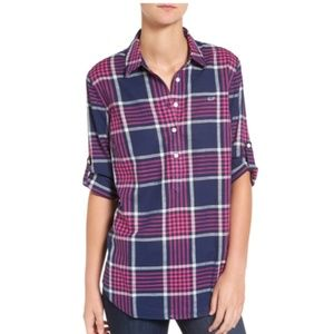 Vineyard Vines Harbor Relaxed Plaid Popover Top